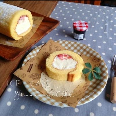 アイスクリームロールケーキのレシピと簡単な巻き方。