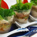 ツナとアボカドの冷や奴サラダ  グラスに盛って涼しげに♪