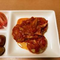 豆腐入りアジのハンバーグトマト煮込み