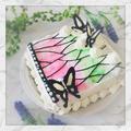 クリスマスに☆鬼滅の刃風、蝶のウォーターカラーケーキ