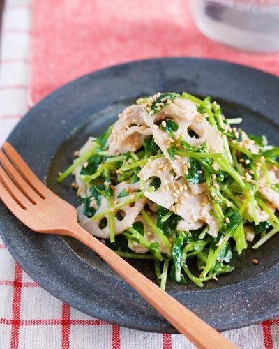 ごまマヨでコクうま♪『豚バラレンコンと豆苗のおかずサラダ』【作り置き*時短*お弁当】