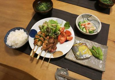 焼鳥&鰆の西京漬 ~ クレームだらけの晩ご飯 と コロカシアの葉っぱ♪