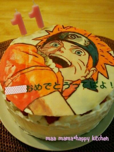 長男birthday*ナルトのキャラチョコケーキ