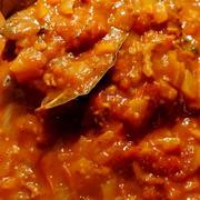 ■菜園発【トマトミートソース】採れ過ぎミニトマト50個を贅沢に投入です^0^