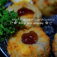 +*里芋と栗のチーズコロッケ コンソメジュレぽん酢+*