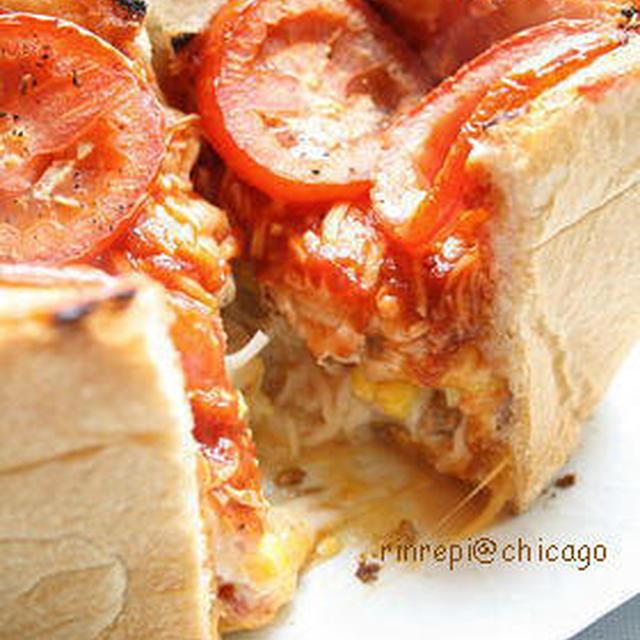 食パンでシカゴピザ風