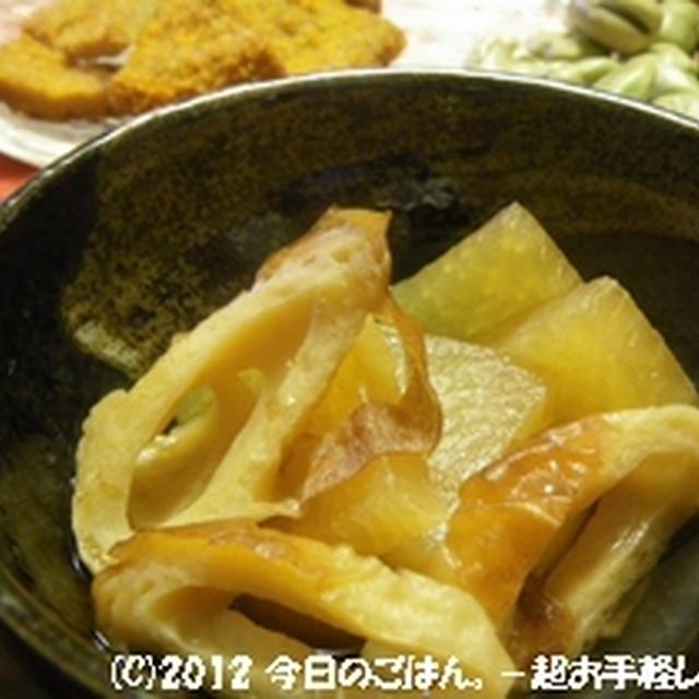 大根とちくわの炊いたん レンジでチン♪で全部で10分(^_-)-☆