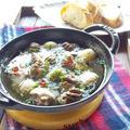 砂肝とマッシュルームのアヒージョ <ボーソー米油部>