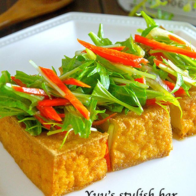 トースターで焼くだけ!万能おつまみ♡『グリル厚揚げのお野菜たっぷり♡生姜ポン酢ダレ』《簡単*節約*おつまみ》