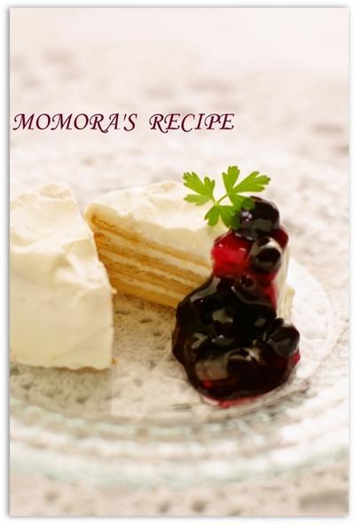 夏休みに簡単・節約お菓子♪卵・砂糖・オイル不使用のヘルシーレアチーズケーキ風ヨーグルトビスケットケーキ♡