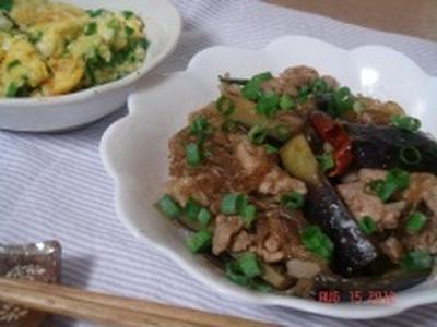 茄子入り!豚肉と春雨のピリ辛炒め