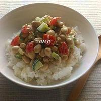 忙しい朝に!缶詰で簡単♪大豆とツナのコロコロ丼