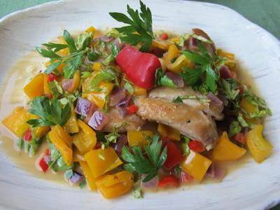 鶏とパプリカの煮込み & 茄子のマリネ  8・9・2012