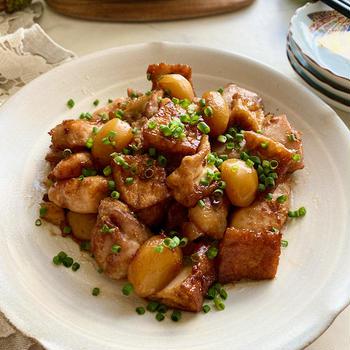 秋の味覚〜てりてりがたまらない鶏肉と栗と厚揚げのほっこり煮