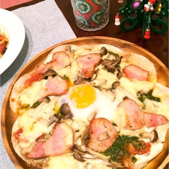 餃子の皮で作るビスマルク風ピザ