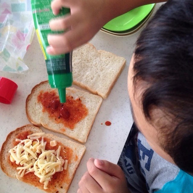 [kids cooking]朝ごはんにピザトースト♡