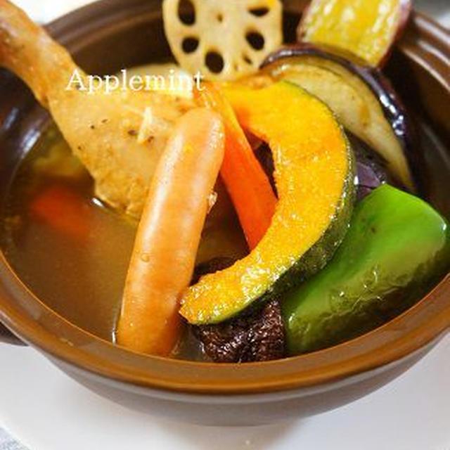 コストコグリルチキンレッグで秋野菜とチキンのスープカレー