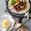ホタルイカと菜の花のわさび入りアリオリ風焼
