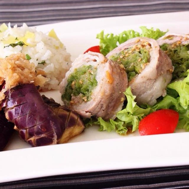 火を使わないレシピ第2弾♪レタスたっぷり豚肉ロール&大葉混ぜご飯&レンジで簡単焼き茄子