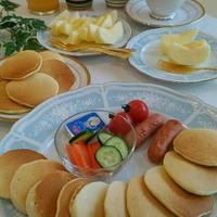 《レシピ有》森永もちもちホットケーキで朝ご飯♪、体操教室終了、食事の記録3/8。