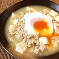 一家勢ぞろい。ポーチドエッグの鶏パイタン白麻婆豆腐(糖質8.2g)
