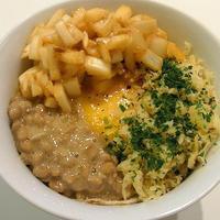 天かすビビン丼(アチャールとエゴマ風味の納豆Ver.)