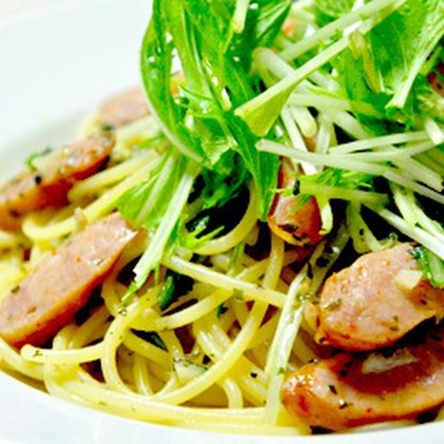 チョリソーと水菜のペペロンチーノ