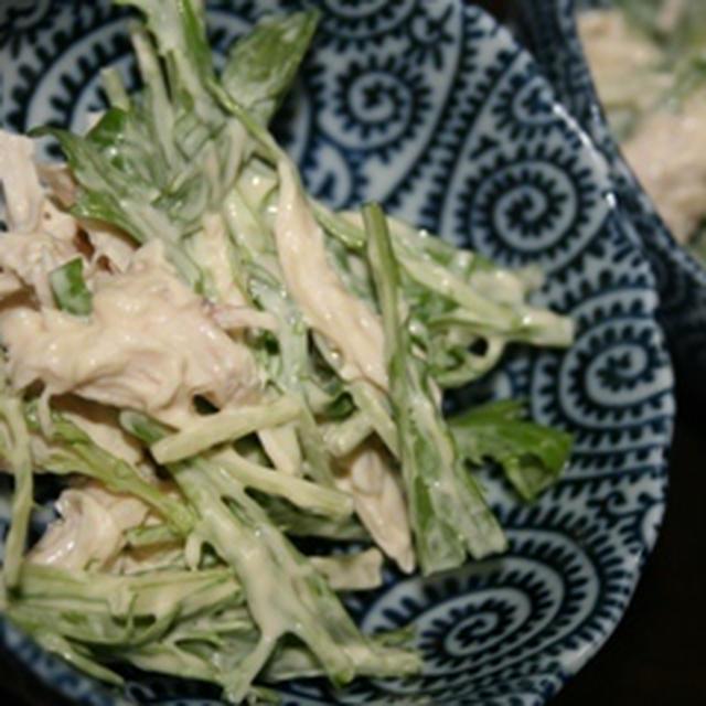 ささみと水菜の柚子胡椒マヨネーズ和え