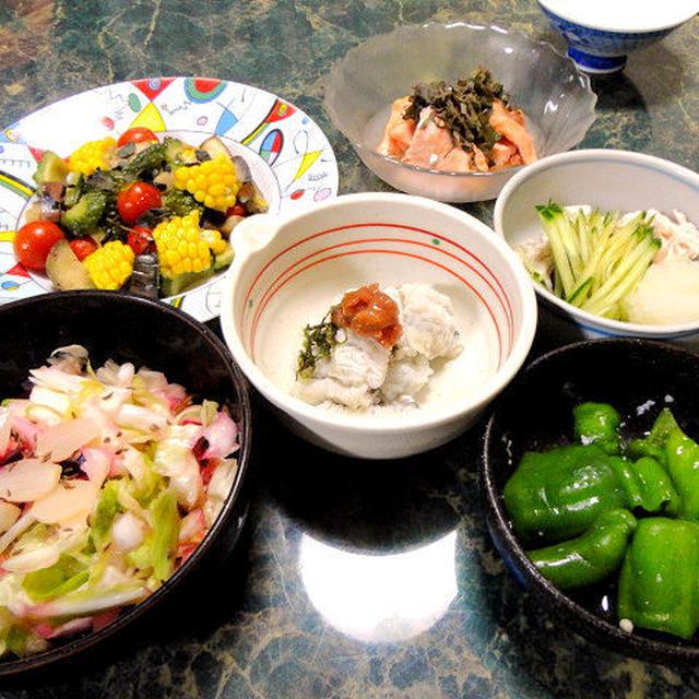 6月29日は☆夏の風物誌・鱧の梅肉和え(高級食材だよ☆)他は庶民的なドーンと夏おかず全8品