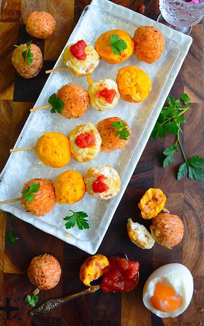 オムライスレシピ コンテスト たこ焼き器で簡単面白い 三色オムライス団子  お花見ピンチョス
