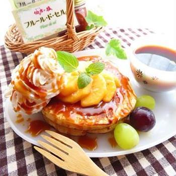 伯方の塩アンバサダー☆柿と塩キャラメルソースのパンケーキ☆フルールドセル使用