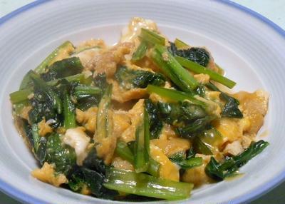 お手軽にできる ふんわり 小松菜と油揚げの卵とじ