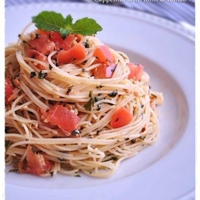 ミントぺーストとトマトの冷製パスタ