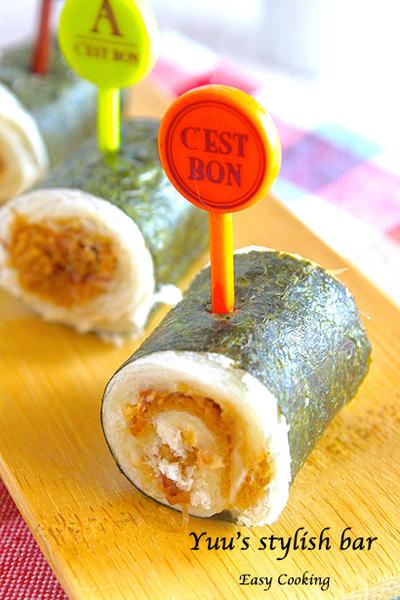 予想を裏切る美味しさ!お弁当にも最適♡おかかロールサンドの海苔巻きピンチョス《簡単★節約》