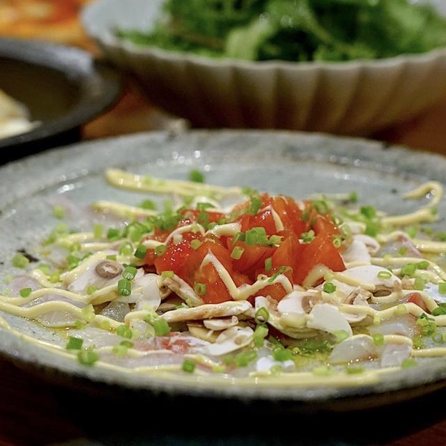 真鯛とマッシュルームのカルパッチョ