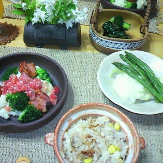 鶏肉と長いもとコーンの炊き込みご飯