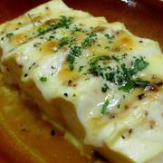豆腐のオイル醤油チーズ焼き<黒胡椒もプラス>