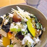 ニンニクと生姜香る!野菜たっぷり雑炊で疲れを癒す。