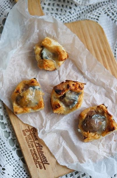 【おうちおやつ】食パンで簡単!栗とゴルゴンゾーラのプチパン☆レシピ