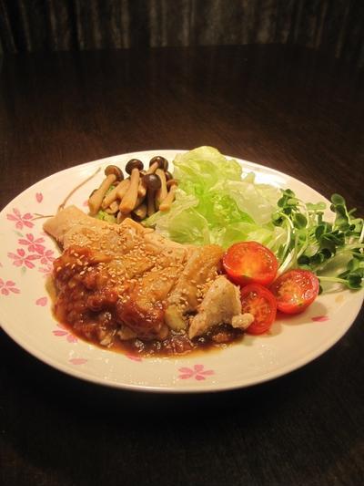 鶏むね肉の漬け焼き 桃ソース(初ルクエ)