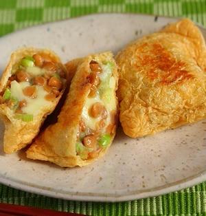 納豆レシピ【納豆とチーズのカリカリお揚げ】