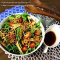 レタスと水菜と根菜のピリ辛サラダ。
