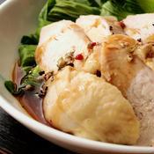 蒸し鶏と青梗菜のスパイシー餡かけ
