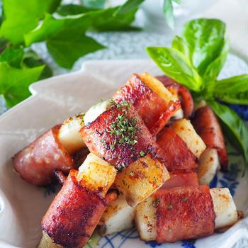 【ご飯がススムカレー味】ホクホク長いものベーコンロール