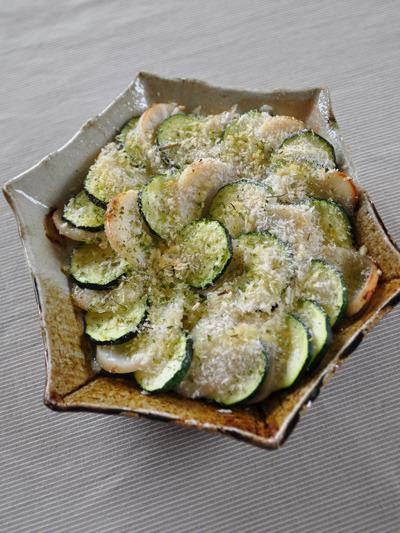 タイラギ貝とズッキーニのパン粉焼き