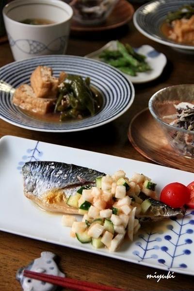 焼きさばの長いもたらこのせ。和食ごはん。