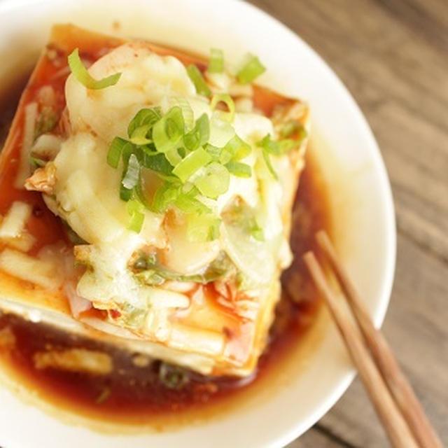 レンジで簡単 キムチーズ豆腐。