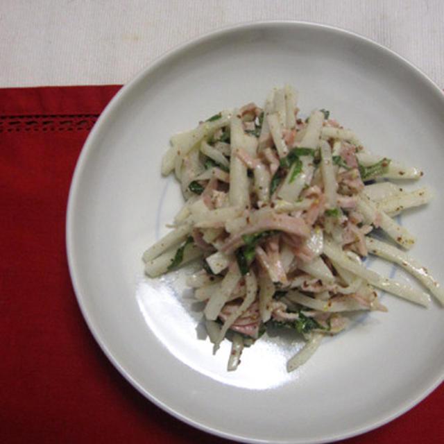 ハム、大根、大葉のサラダ