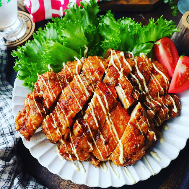 可愛いところ❤️と、おかわりがとまらない❤️鶏むね揚げ鶏で甘酢マヨチキン❤️