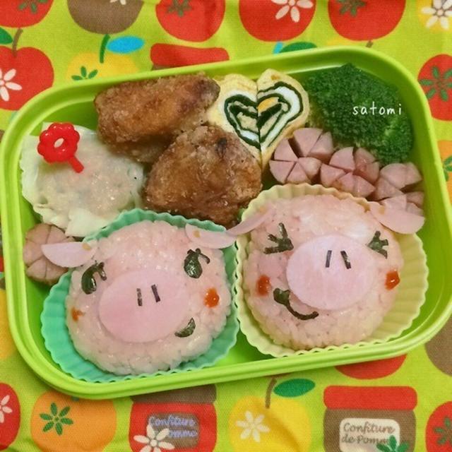 2015/02/10 幼稚園弁当☆バレンタイン仕様…になれなかった子ブタちゃん キャラ弁